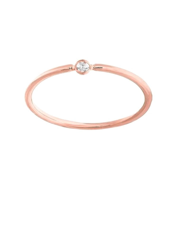 14k Rose Gold Stackable Thin Ring with Genuine Diamond