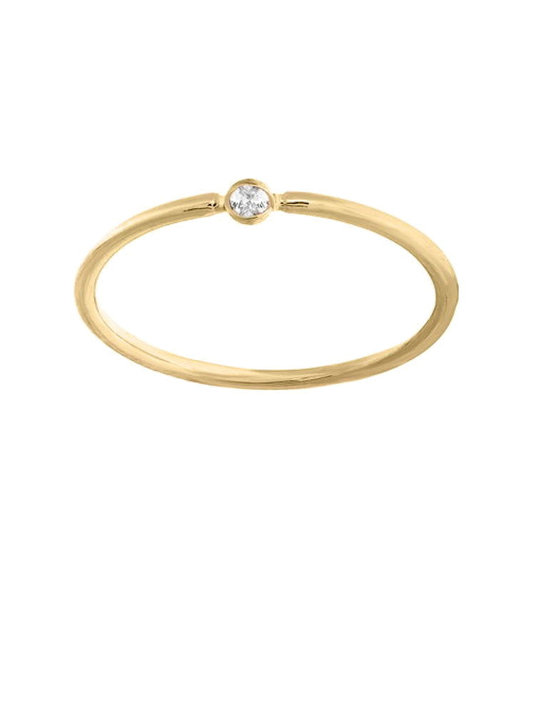 14k Yellow Gold Stackable Thin Ring with Genuine Diamond