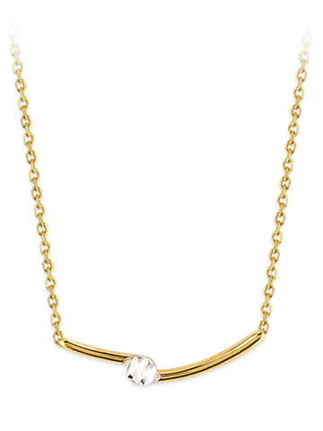 14k Yellow Gold Two-Tone Curved Bar Diamond-cut Necklace Adjustable Length