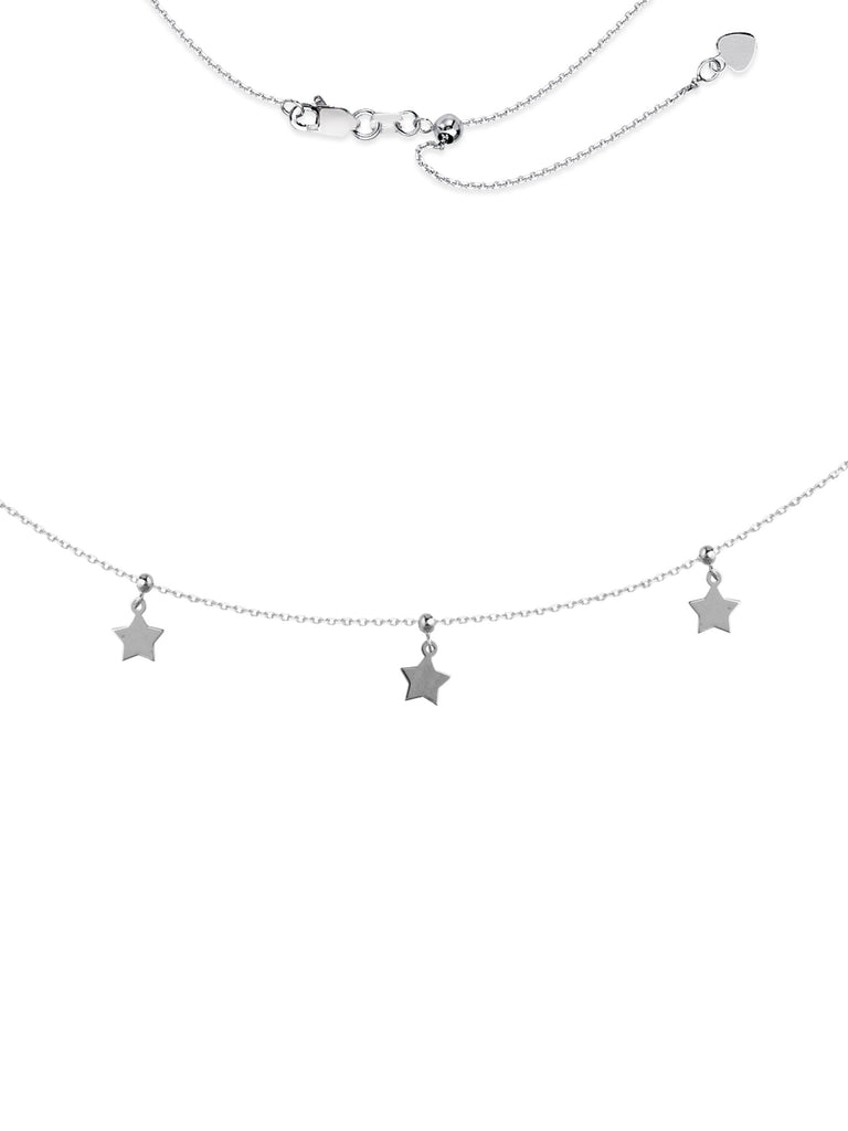 Choker Necklace with Star Dangle Drops Rhodium on Sterling Silver Adjustable