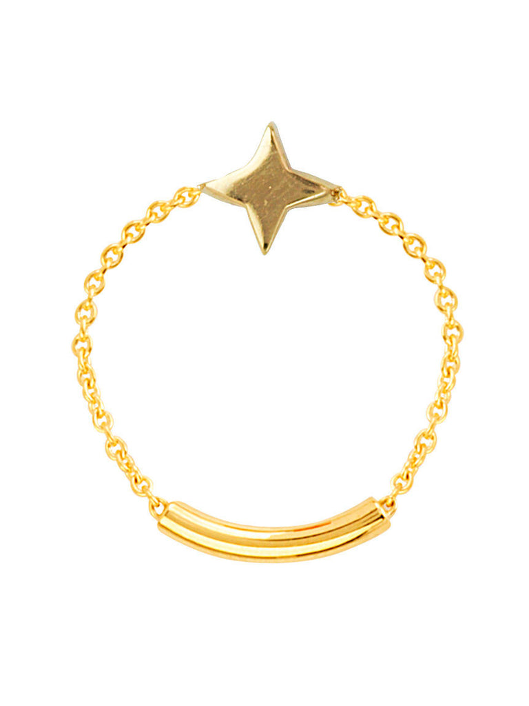 14k Yellow Gold Chain and Bar Ring with Star