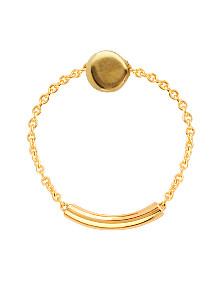 14k Yellow Gold Chain and Bar Ring with Round Small Disk