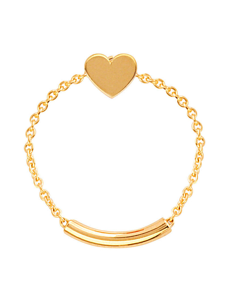 14k Yellow Gold Chain and Bar Ring with Heart