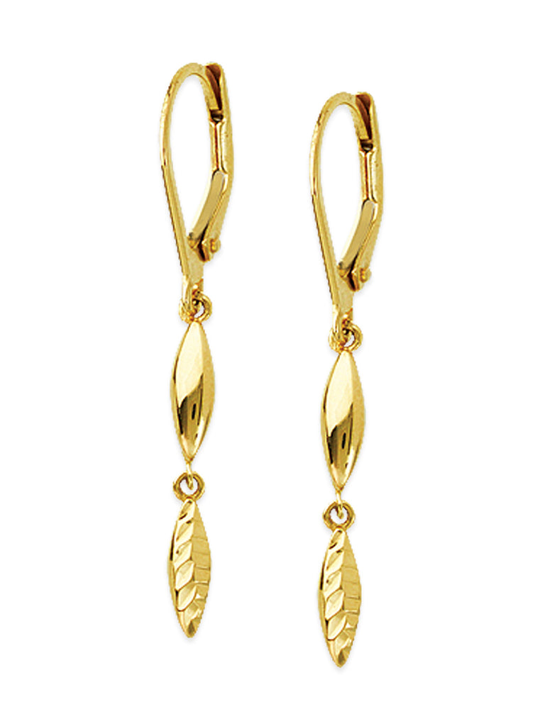 14k Yellow Gold Marquise Drop Earrings with Lever Back