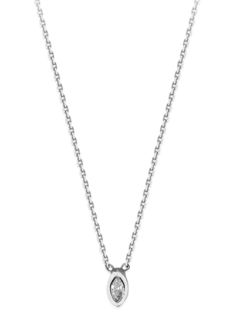 14k White Gold and Diamond Necklace Adjustable Length Marquise Shape