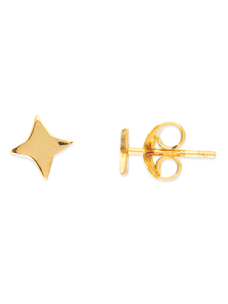 14k Yellow Gold North Star Stud Earrings