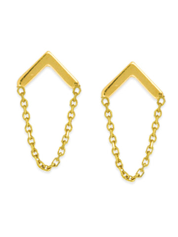 14k Yellow Gold Post Stud Earrings Chevron with Chain Drape