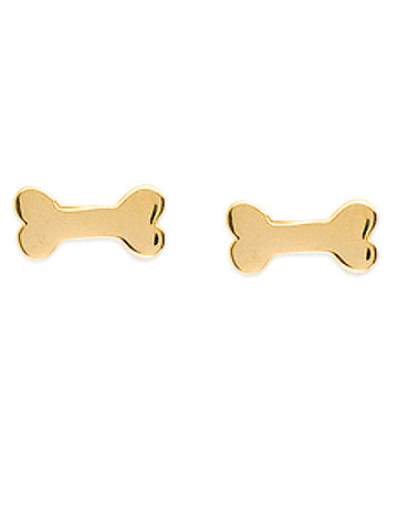 14k Yellow Gold Dog Bone Stud Earrings