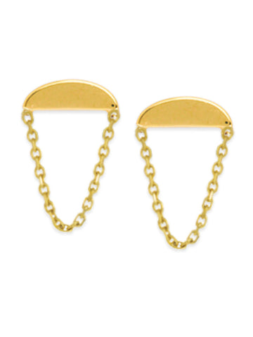 14k Yellow Gold Post Stud Earrings Wedge Half Moon with Chain Drape
