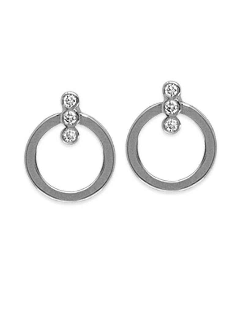 14k White Gold Open Circle Hoop Earrings with 3 Genuine Diamond Accents