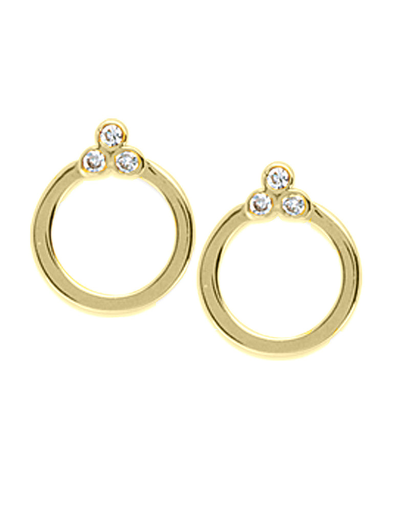 14k Yellow Gold and Genuine Diamond Open Circle Stud Earrings