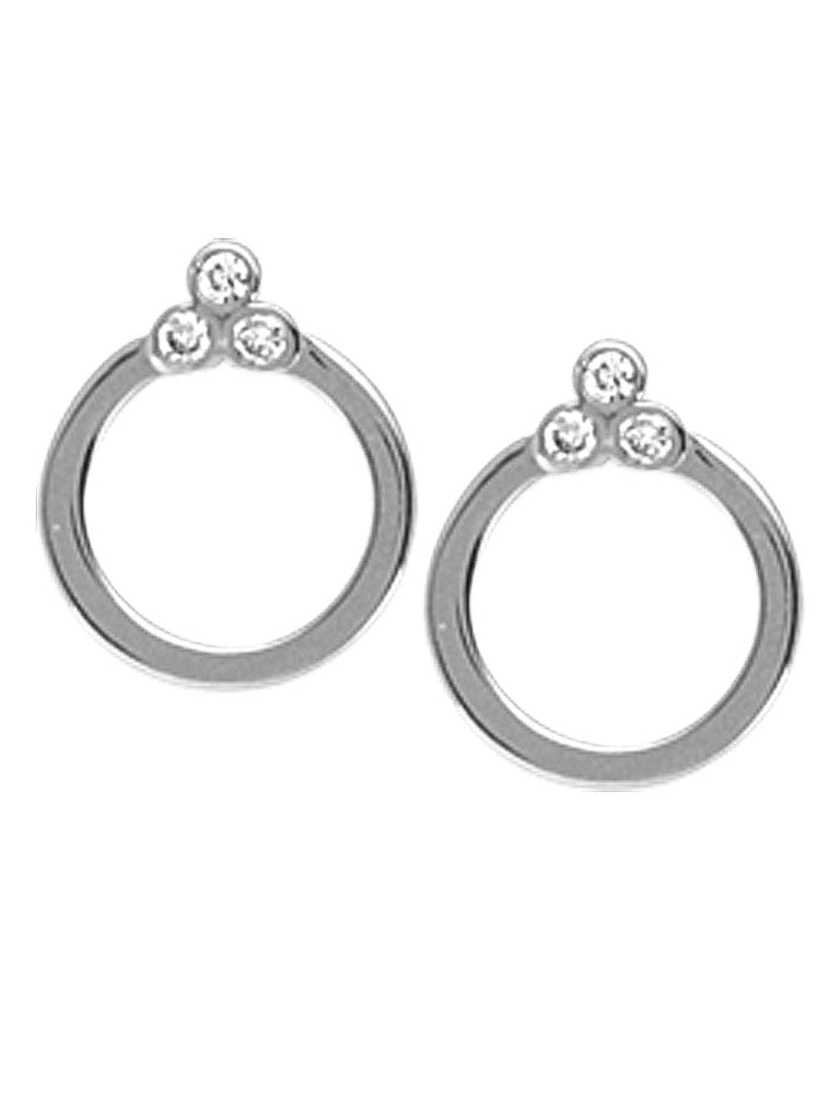 14k White Gold and Genuine Diamond Open Circle Stud Earrings