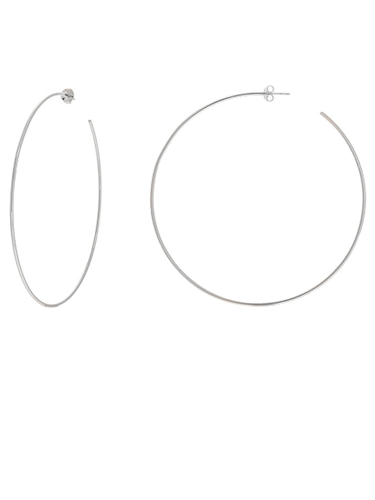 Hawley Street 14k White Gold Hoop Earrings 75mm with Post