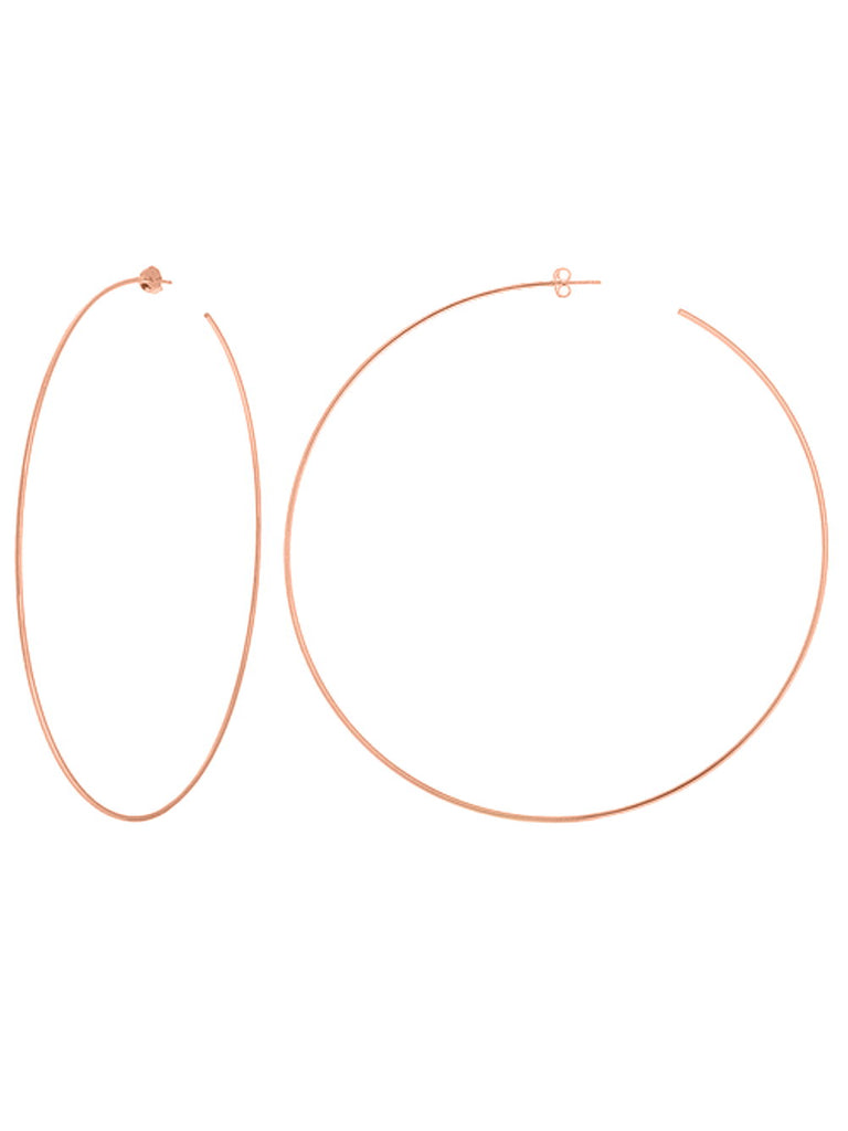14k Rose Gold Extra Large Hoop Earrings 105mm with Post