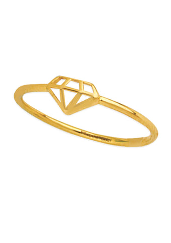 14k Yellow Gold Ring with Gemstone Cut Out Design