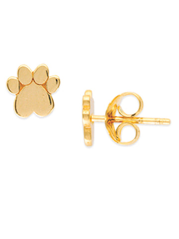 14k Yellow Gold Paw Print Stud Earrings