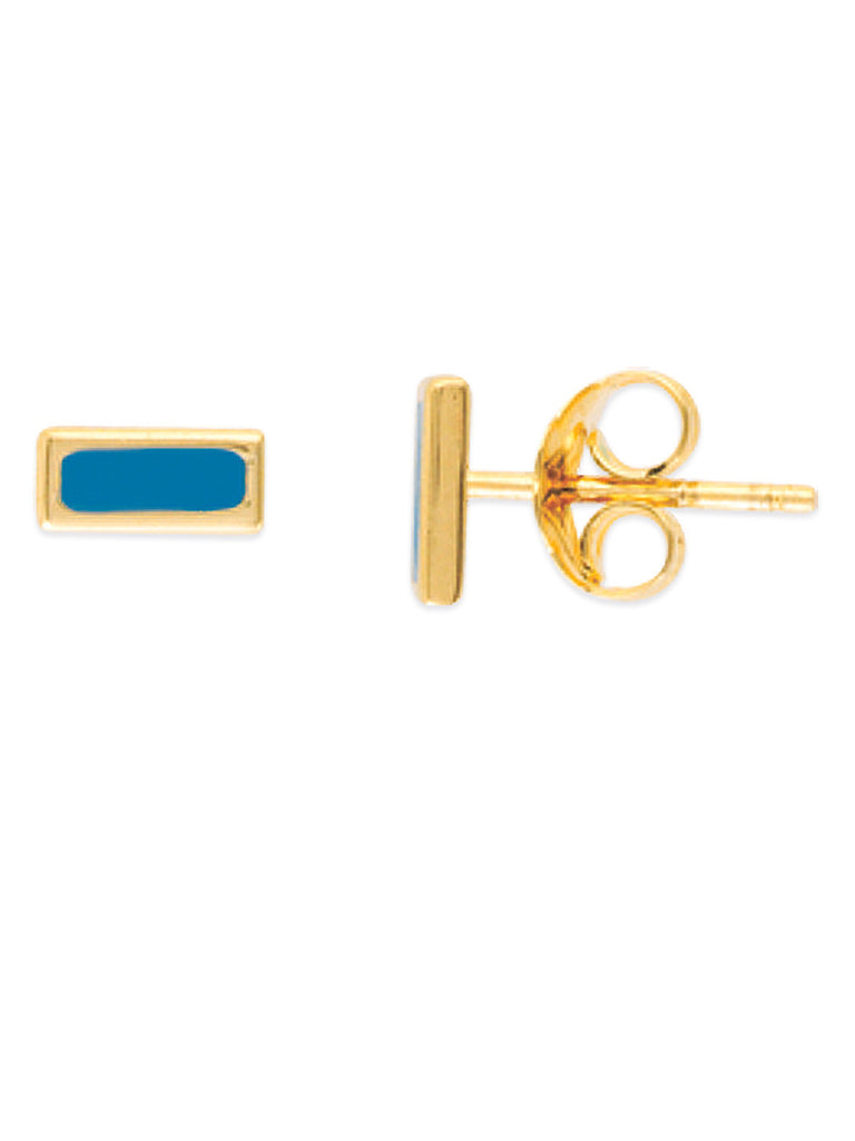 14k Yellow Gold Rectangle Stud Earrings with Turquoise-color Enamel Center