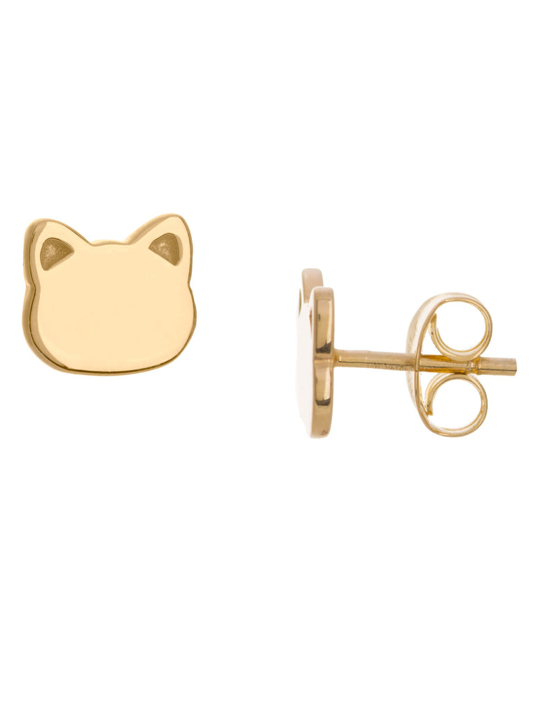 14k Yellow Gold Cat Face Stud Earrings