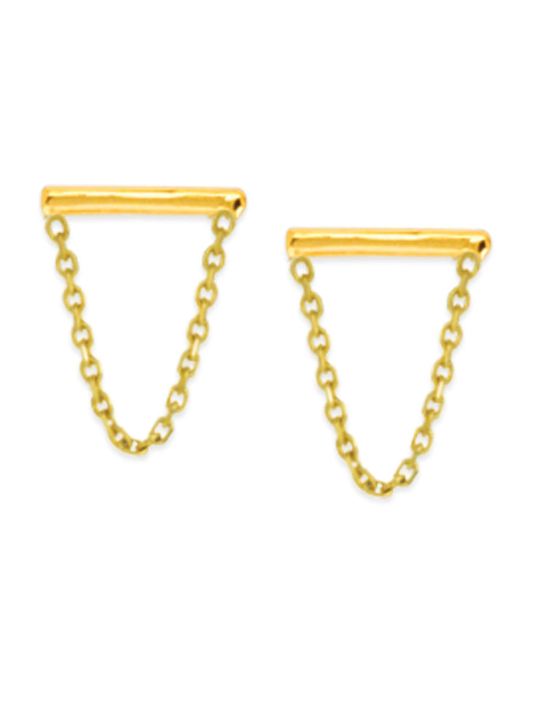 14k Yellow Gold Staple Bar and Chain Drop Stud Earrings
