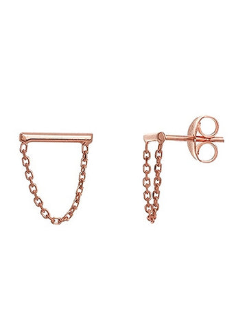 14k Rose Gold Bar and Chain Drop Stud Earrings