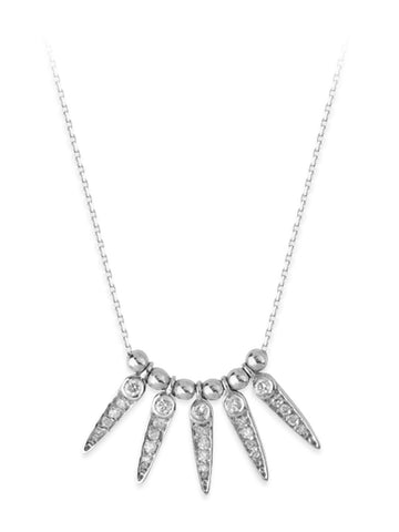 14k White Gold Necklace Fan Spike Drops Genuine Diamonds Adjustable Length