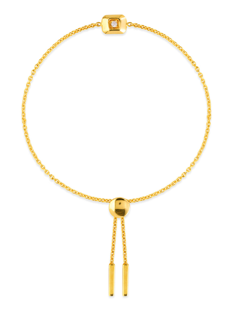 14k Yellow Gold Bon Friendship Bolo Bracelet with Diamonds and Bar Drops