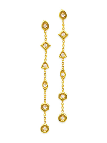 14k Yellow Gold Geometric and Chain  Dangle Earrings Genuine Diamond Accents