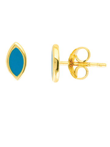 14k Yellow Gold Stud Earrings with Turquoise-color Marquise Shape Enamel Center