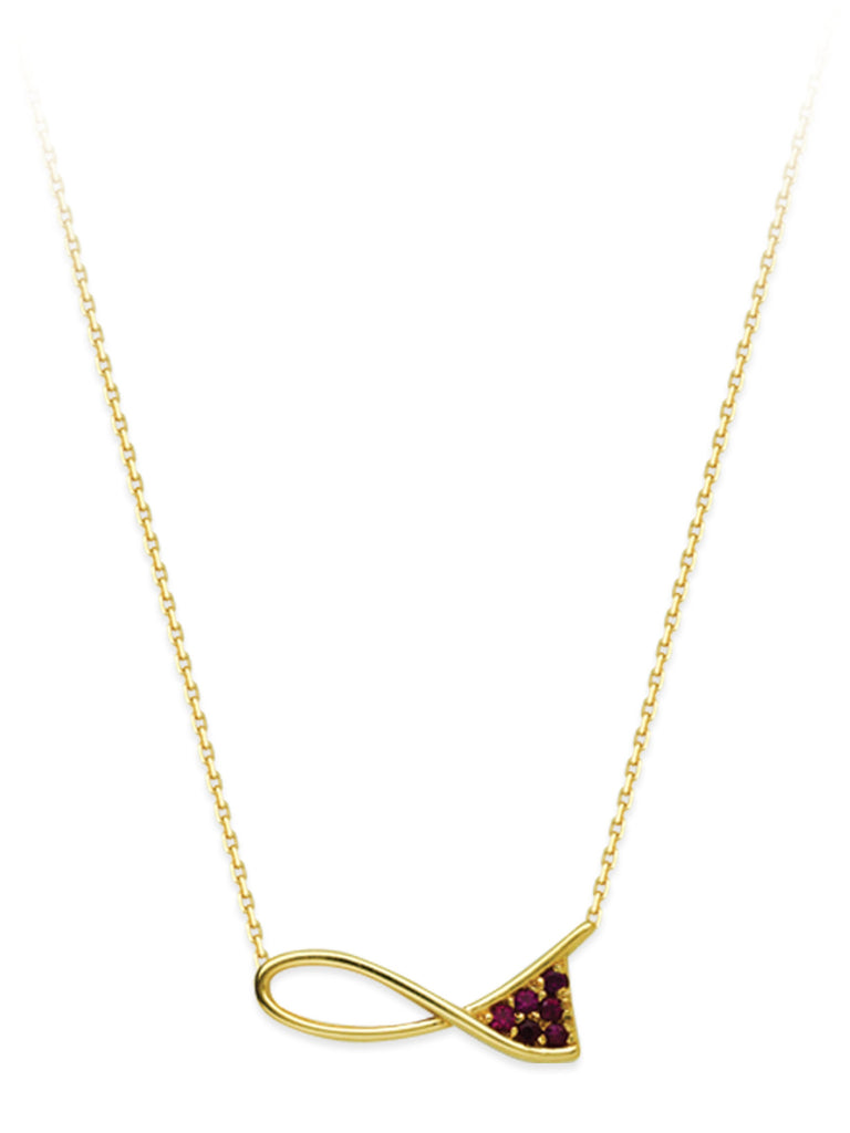 14k Yellow Gold and Ruby Necklace Ribbon Design