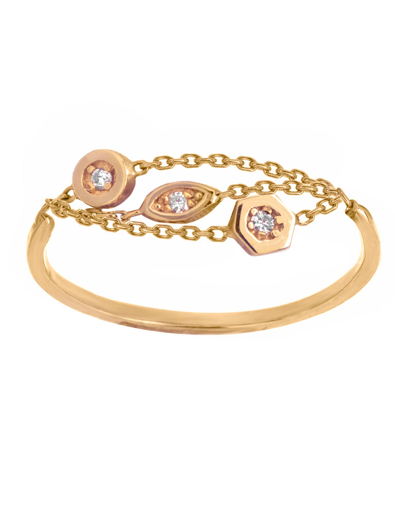 14k Yellow Gold Triple Chain 3-Diamond Ring with Round Marquise and Hex Settings