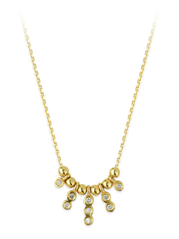 14k Yellow Gold Necklace with Round Genuine Diamond Drops Adjustable Length