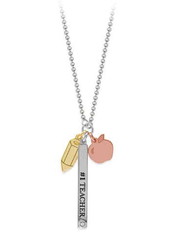 Charm Necklace with Teacher, Pencil, and Apple Charms Adjustable