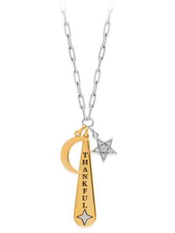 Charm Necklace with Thankful, Moon and Star CZ Charms Adjustable Length