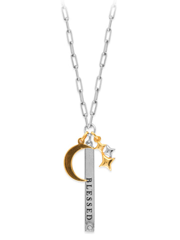 Charm Necklace Word Blessed with Crescent Moon and Stars Adjustable Length