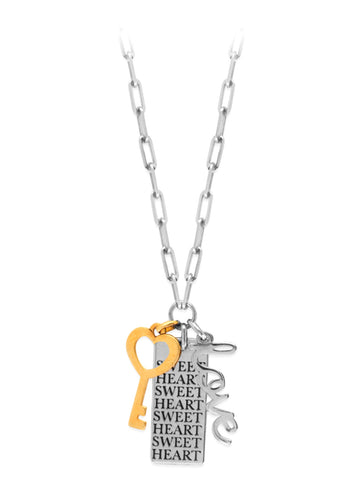 Sweetheart Tag, Word Love and Heart Key Charm Necklace Adjustable Length