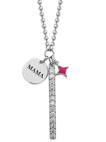 Charm Necklace Mama Disk, Pink Star and Bar Cubic Zirconia Adjustable Length