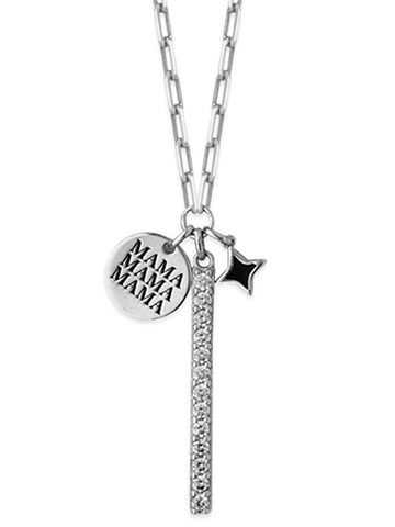 Charm Necklace Mama Disk, Blue Star and Bar Cubic Zirconia Adjustable Length