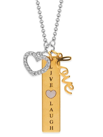 Charm Necklace with LIve, Laugh, Love, and Heart CZ Charms Adjustable Length