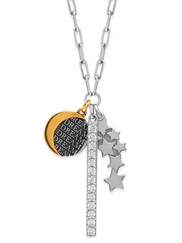 Charm Necklace with Dream, Moon and Stars and CZ Bar Adjustable Length