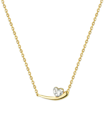14k Yellow Gold Two-Tone Apostrophe Heart Diamond-cut Necklace Adjustable Length