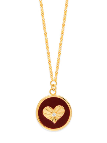 14k Yellow Gold Heart Medallion Necklace Diamond Accent Adjustable Cherry Enamel