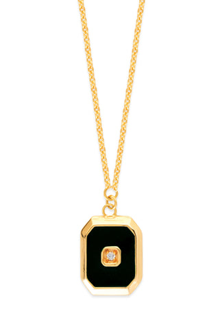 14k Yellow Gold Octagon Pendant Necklace with Diamond Accent Adjustable