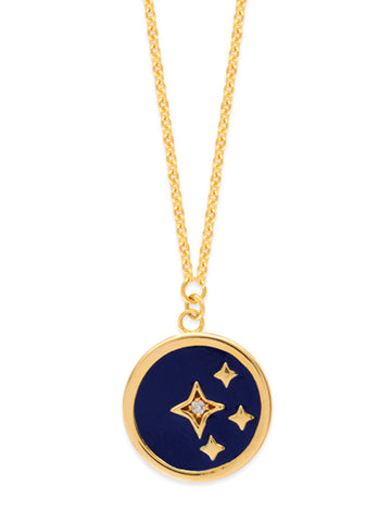 14k Yellow Gold Stars Necklace with Diamond Accent Adjustable Dark Blue Enamel