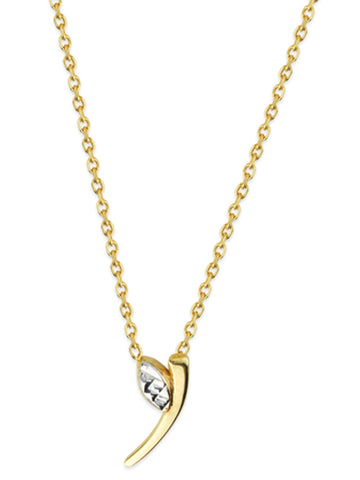 14k Yellow Gold Two-Tone Apostrophe Leaf Diamond-cut Necklace Adjustable Length