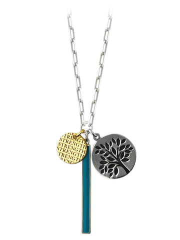 Charm Necklace with Tree of Life, Strength and Turquoise Enamel Bar Adjustable