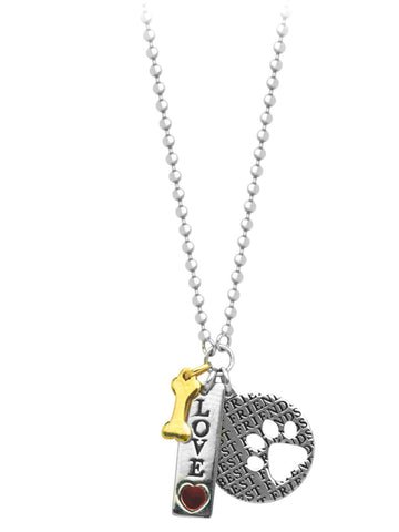 Charm Necklace Word Love with Heart Tag Bone and Paw Print Adjustable Length