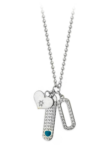 Love Tag Bar, Heart Disk and Cubic Zirconia Charm Necklace Adjustable Length