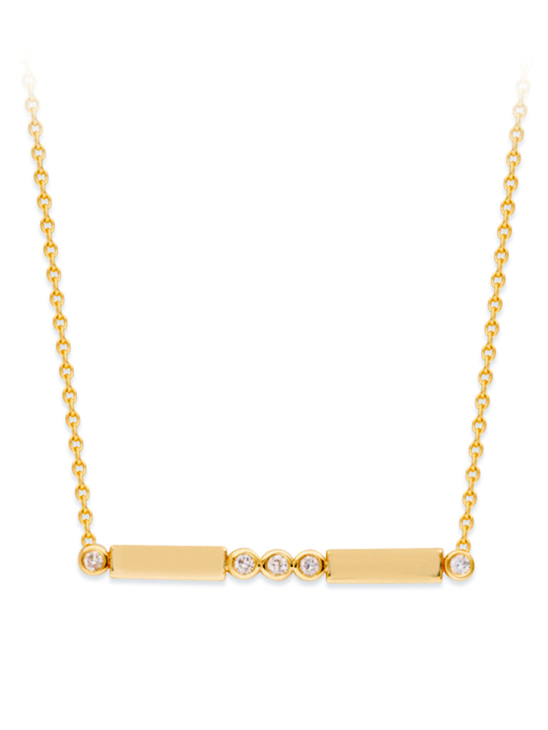 14k Yellow Gold and Diamond Bar Design Necklace