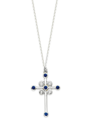14k White Gold Cross Sapphire and Diamond Necklace Adjustable Length