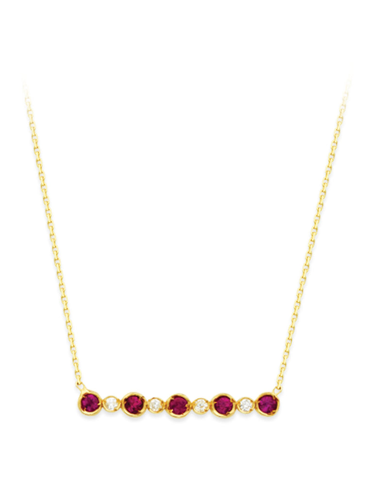 14k Yellow Gold Ruby and Diamond Bar Design Necklace